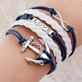 New paracord bracelet jewelry bracciali uomo multilayer Charm bracelet pulsera hombre leather anchor bracelet men bijoux homme