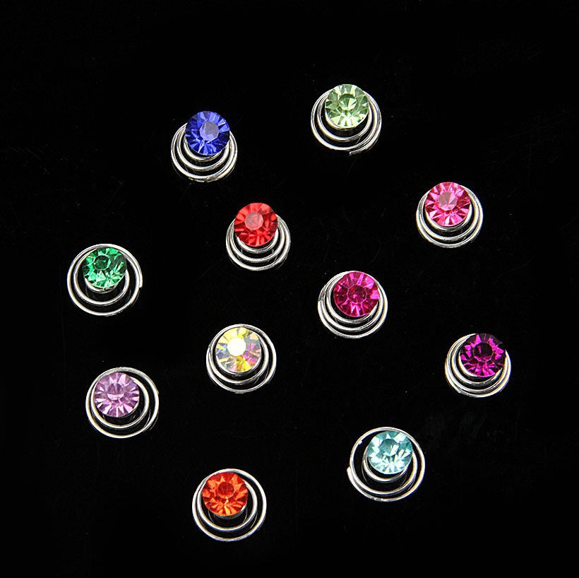 10 pcs Rhinestone Coil Swirl Spiral Twist Hair Spin Pins Women - Shopy Max