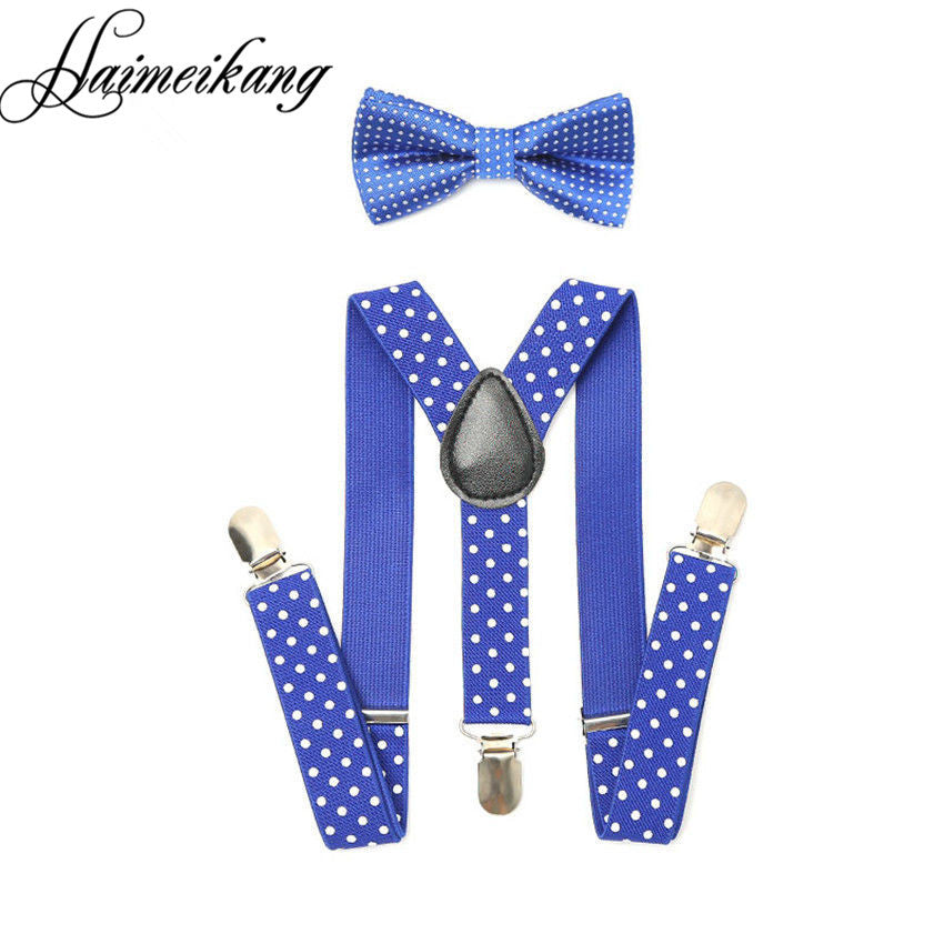 1Set Children Suspenders Bow tie Bow Tie Ties Adjustable Boys Girls Kid 3 Clip-on Y Back Elastic Braces Suspenders