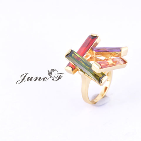 2015 Popular Copper Ring Classic Style Ring with colorful Trinitites June Flower