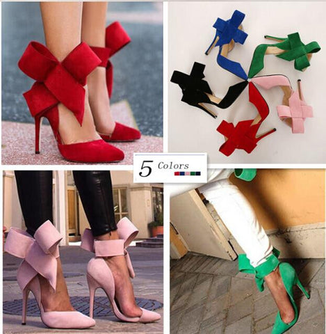 New Arrival Women Pumps 2015 Big Tie Butterfly Pointed Stiletto Women Shoes High Heels Ladies Wedding Dress Shoes