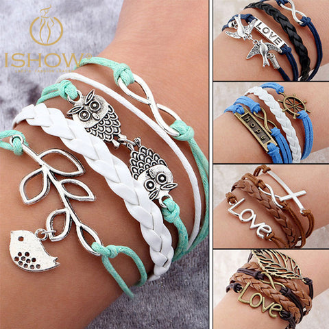 Hot Sale Fashion Vintage Bird Tree Owls Infinity Anchors Rudder Rope Bracelet Wrap Leather Bracelet Multilayer bracelets bangles