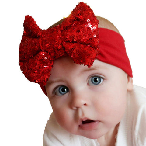 Best Deal 2015 Fashion Elastic Children Baby Girls Headband Cute Sequins Bow Baby