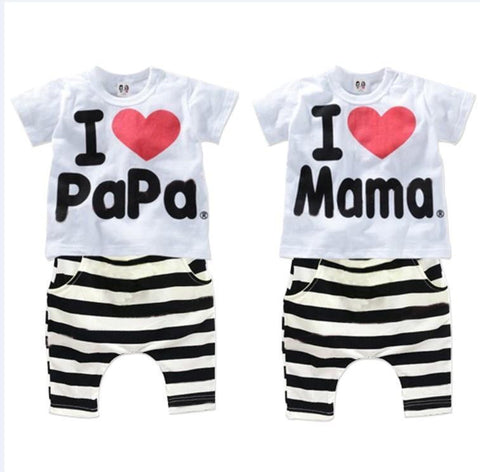 2016 New Summer Children Baby Clothing Sets Kids I love papa mama Clothes Suit  Boys