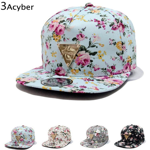 2016 Hot Spring Unisex Snapback Flat Peaked Adjustable Baseball Cap Hip Hop Hat Cool Floral