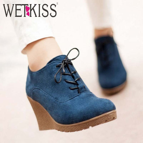 Brand New High Heel Wedges Shoes Platform Pumps for Women Lace up