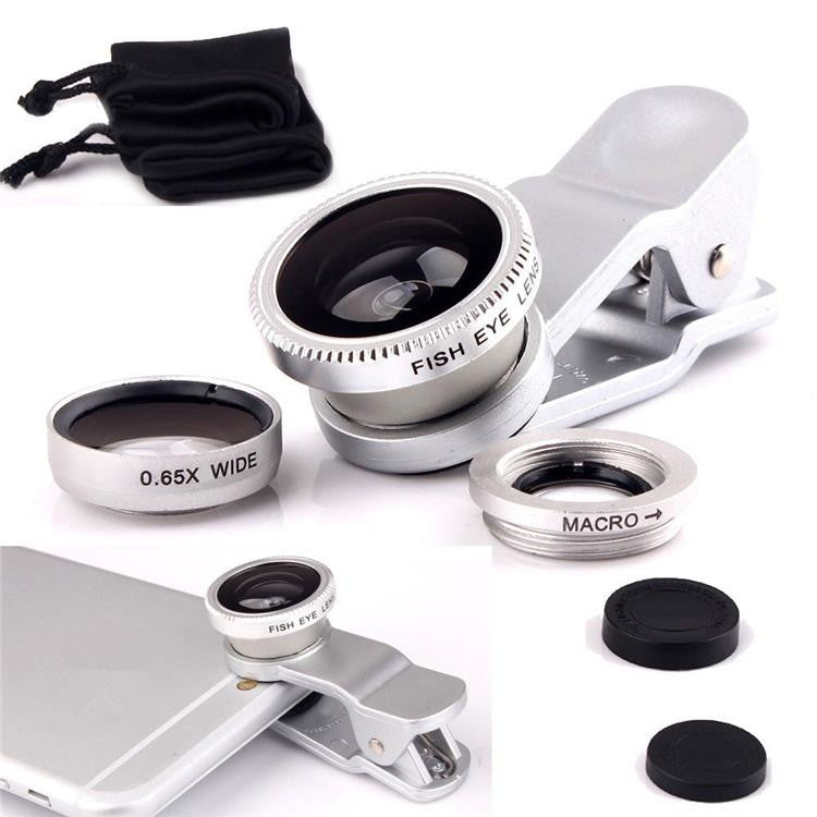 Universal Clip 3in1 Fisheye fish eye Lens + Wide Angle + Macro Kit Set  Mobile Phone Lens for iPhone 6 4 4S 5 5S Samsung S4