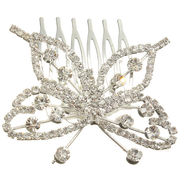 1pcs Tiara Hair Jewelry Elegant Butterfly Rhinestone Crystal Pin Comb Clip Silver