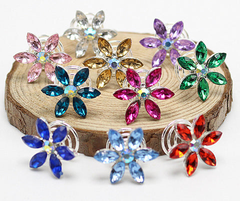 10pcs Rhinestone Leaf Colors Bridal Crystal  Twist Hair Spin Pins Women