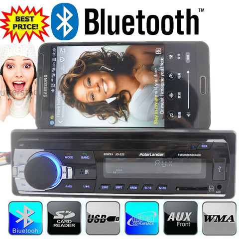 New 12V bluetooth car Radio car stereo bluetooth MP3 Audio Player Bluetooth USB SD MMC Port Car Electronics In Dash one DIN size