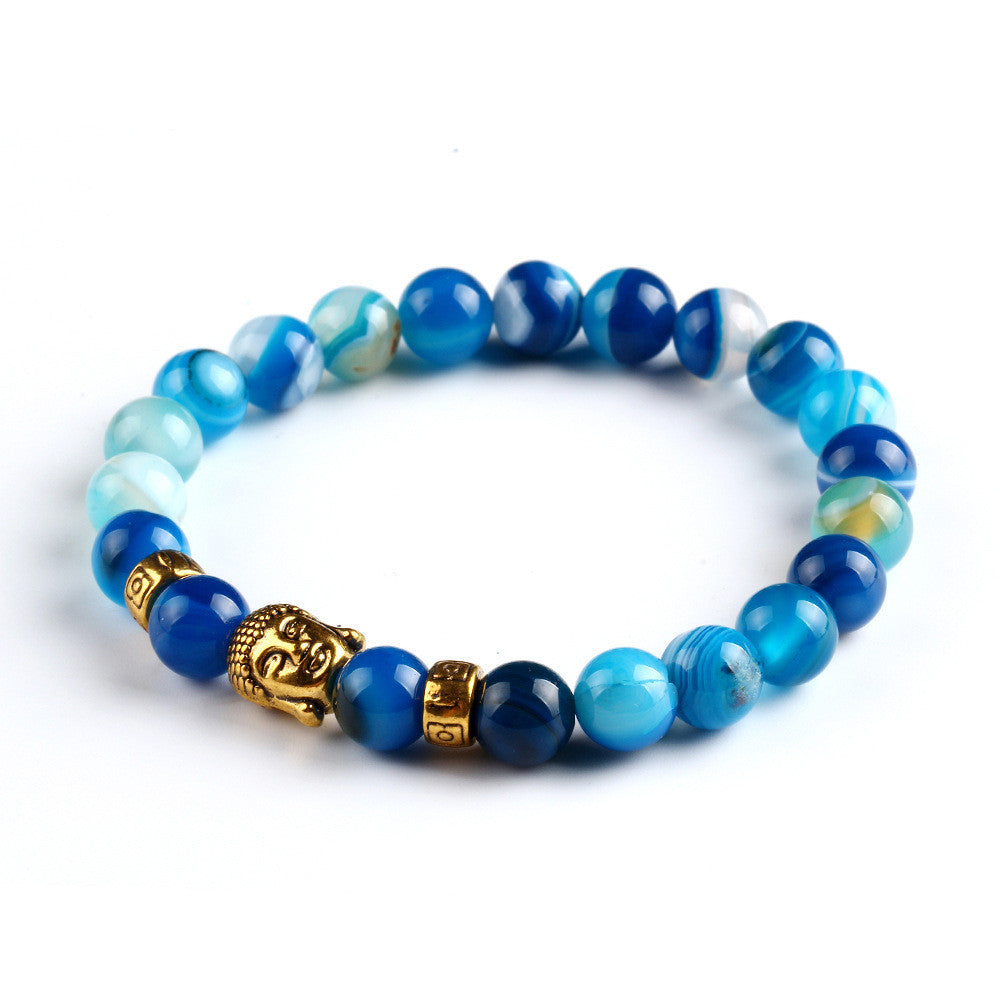 2015 New Fashion Men's Bracelet Gold Buddha Elastic Black Color
