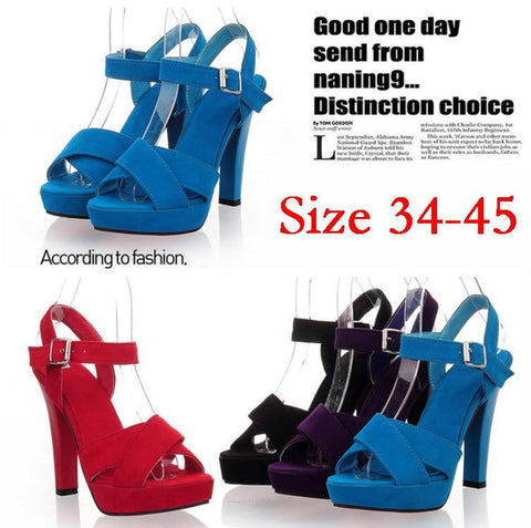 2013 Suede Platform High Heel Sandels Slingback Strap Ladies Summer Shoes Purple Blue Black Red Big Plus Size 40 41 42 43 44 45