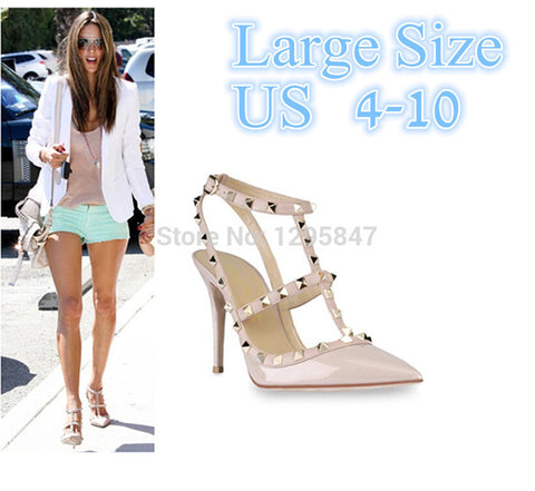 New 2104 Hot Women Pumps Ladies Sexy Pointed Toe High Heels Fashion Buckle Studded Stiletto High Heel Sandals Shoes Large Size
