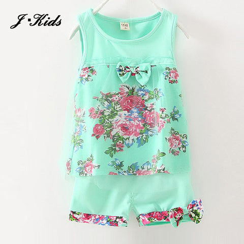 1-5 age 2016 New summer baby girls clothing sets mesh children girls lace floral bowknot vest + shorts 2pcs clothing suits girls