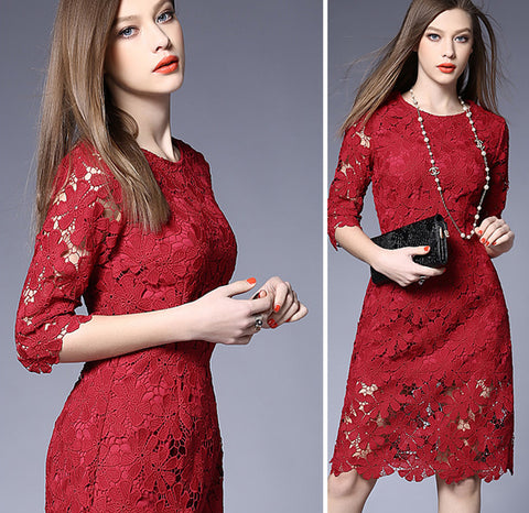 2016 New White/Black/Pink/Red Solid Colors XXXl Elegant Floral Lace Crochet Women Dresses Zipper Vintage