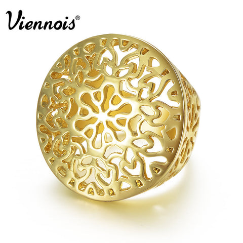 2015 Viennois Fashion GP Gold Plated Hollow Out Circle Round Ring Size 7 8 For Women New jewelry