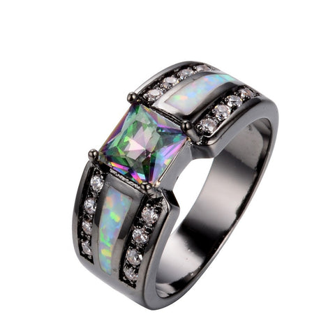 2015 Summer fashion Sapphire fine jewelry 14KT Black Gold Filled Wedding Rings for women AAA anel Zircon Square design
