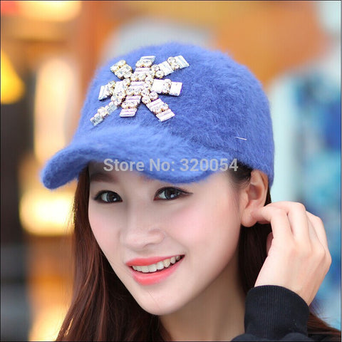 1 Pcs 2014 New Korea Rabbit Fur Fashion Baseball Cap Women Winter Warm Hat Multicolor