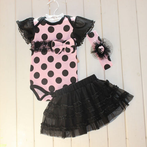 1 Set Baby Girl Polka Dot Headband Romper TUTU Outfit Party Birthday Costume