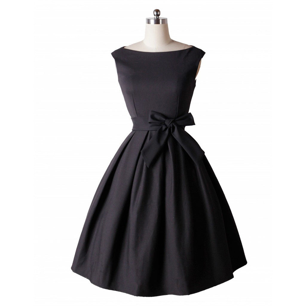 LANLAN Red Black Audrey Hepburn Style 50s rockabilly Dress 2016 New Summer Dress Sleeveless Bow