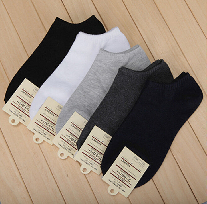 10 pairs Men's short boat socks brand high quality polyester breathable casual 3 Pure Color sports sock for men free shipping - Shopy Max