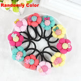 TS 5pcs Pumpkin flowers children baby girls hair accessories rubber bands
