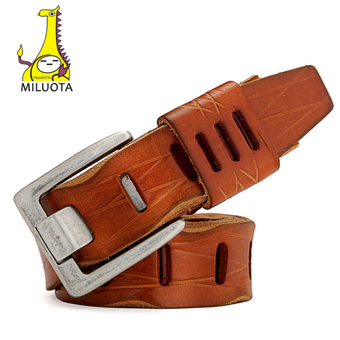 [MILUOTA] 2016 Mens Belts Luxury Fashion 100% Cowhide Genuine Leather Belt Man