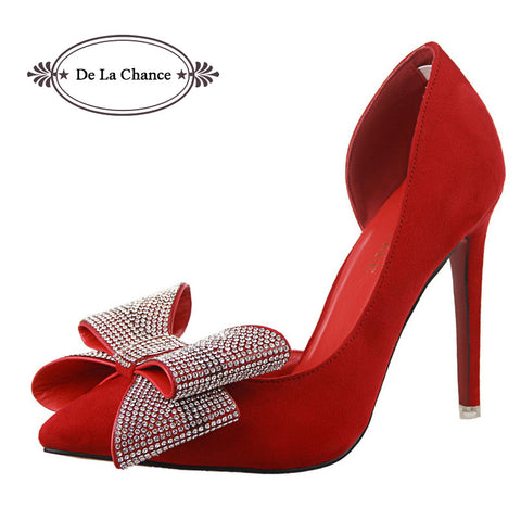 2015 New Fashion Women Pumps Red Bottom High Heels Women High Heels Butterfly Rhinestone Bridal Wedding Red Sole Shoes Pumps