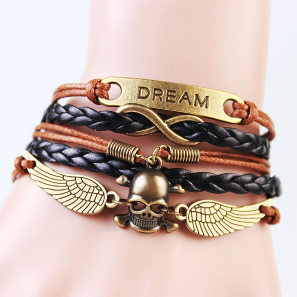 2014 New handmade Fashion Skull & Win Dream Charms infinity Bracelet Brown &Black woven leather punk Braclet. IB707
