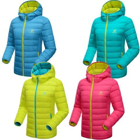 2016 New Winter Women 90% White Duck Down Jacket Women's Hooded Ultra