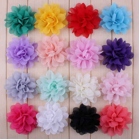 "120pcs/lot 2.8"" 16color Artificial Chiffon Silk Flowers For Girls Hair Accessories Soft Petal Peony Fabric"