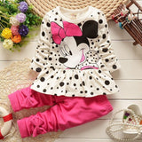 Kids Baby Girls Cute Minnie Mouse Dress Dot Tops Pants Clothes 2pcs Outfits set - Shopy Max