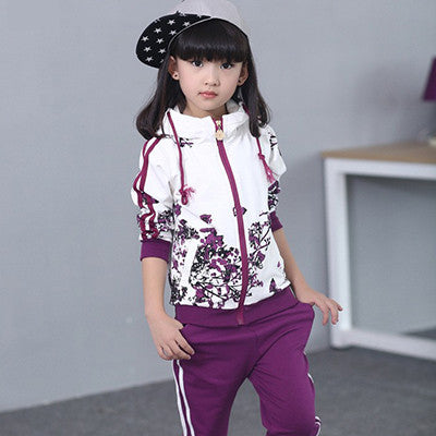 Girls Clothing Sets 2016 Spring Floral Sports Hoodies+Pants 2 Pieces Fashion Kids - Shopy Max