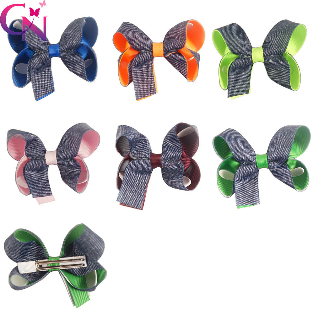 "30 Pcs/lot 3.5"" High Quality Handmade Two Layers Denim Hair Bow For Baby Girls - Shopy Max"