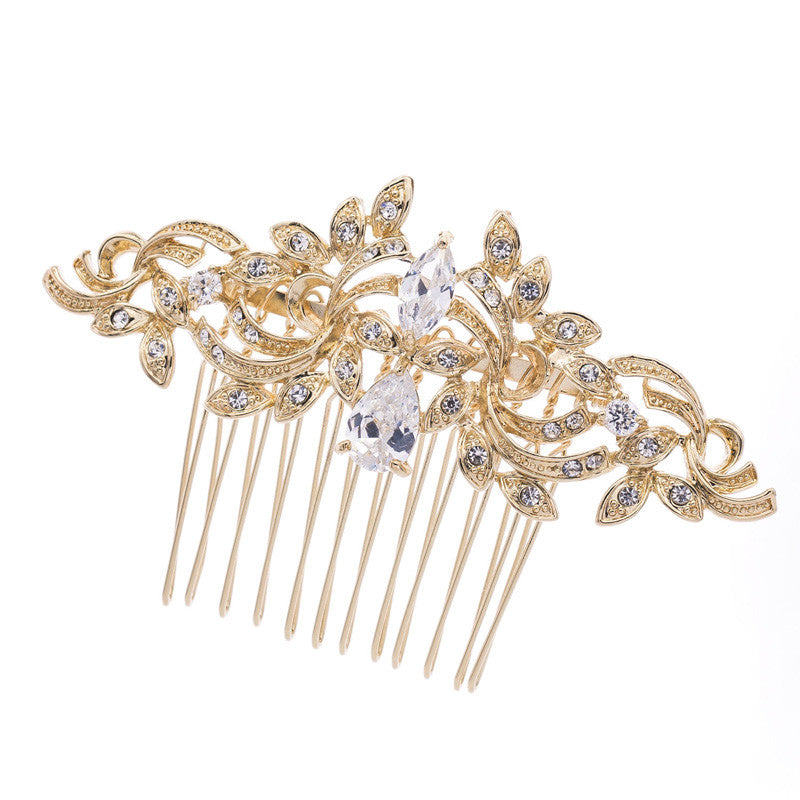 Vintage Silver Plated Women Hairpins Rhinestone Crystals Hair Combs Bridal Wedding