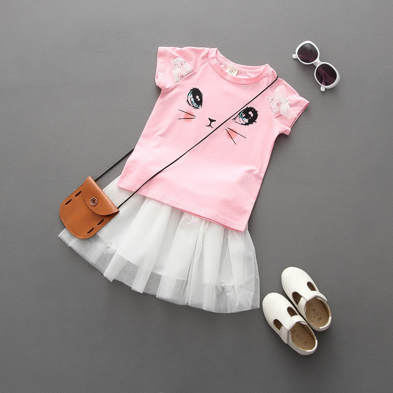 New 2016 Summer Girls Clothing Sets Fashion Cotton Short Sleeve T-shirt+Organza Skirts Children Kids Girl Clothes 2pcs Set 2-7Y