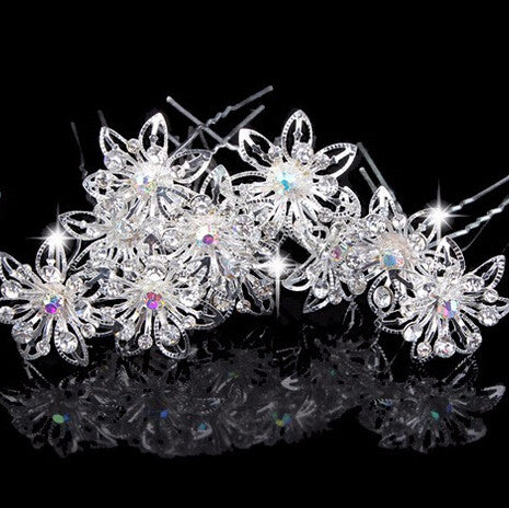 10PCS Retail Delicate Pretty Wedding Bridal Crystal Flower Hair Pin Wedding Tiara - Shopy Max