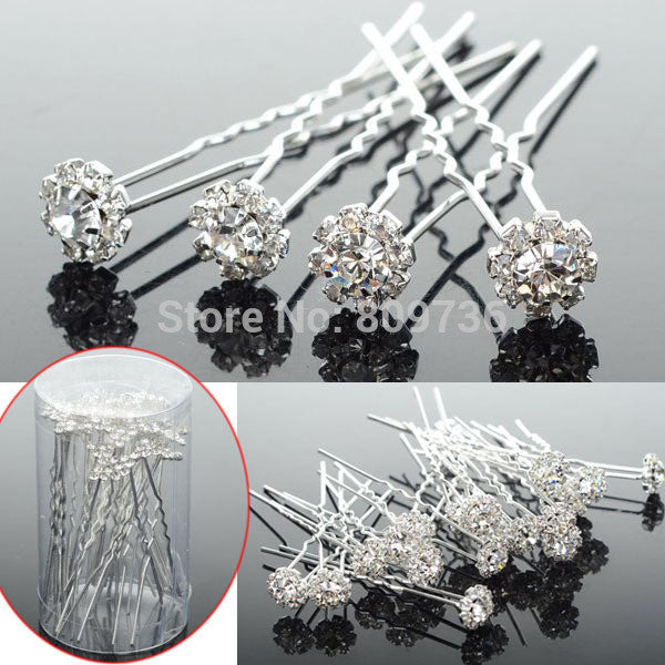 Wholesale 20PCS Chic Flower Clear Crystal Hair Clips Wedding Bridal