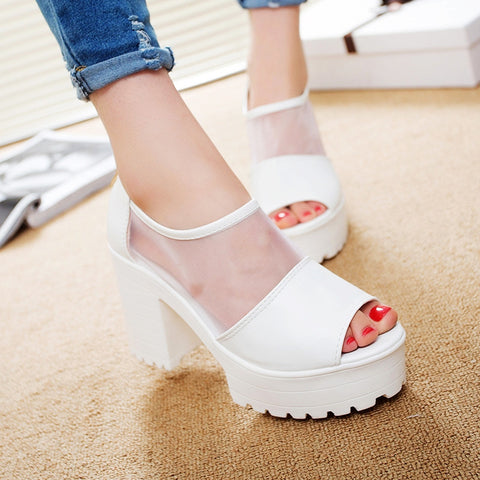 2015 platform sandals women high-heeled sandals thick heel open