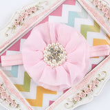 16Clrs New Fashion Hot children kids Baby girls pearl diamond chiffon flower Headband - Shopy Max
