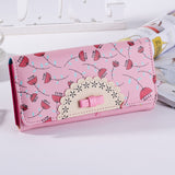 New Fresh Flora Printing Girl Wallet Three Folder Women Clutch Card Holder