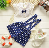 kids clothes girls summer 2016 fashion toddler girls clothing sleeveless shirt polka dot Strap shorts set suit children clothing - Shopy Max