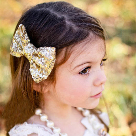 10 Candy Colors, 2015 Hot New Children Sequin Barrettes Cute Baby Girl Big Bow Clips