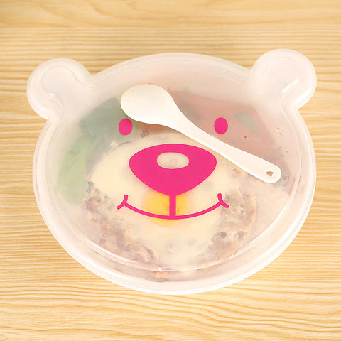 Cartoon Teddy Bear Lattice Plastic Lunch Box Set With Spoon Bento For Kids