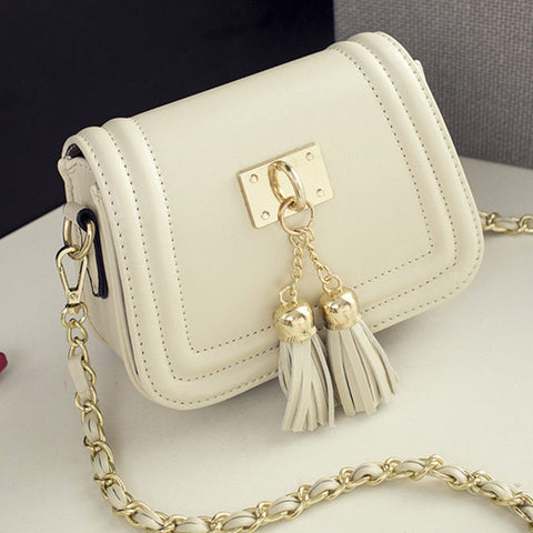 2016 Spring and Summer Mini Tassel Chain Bag Women Small Bags Pu Leather
