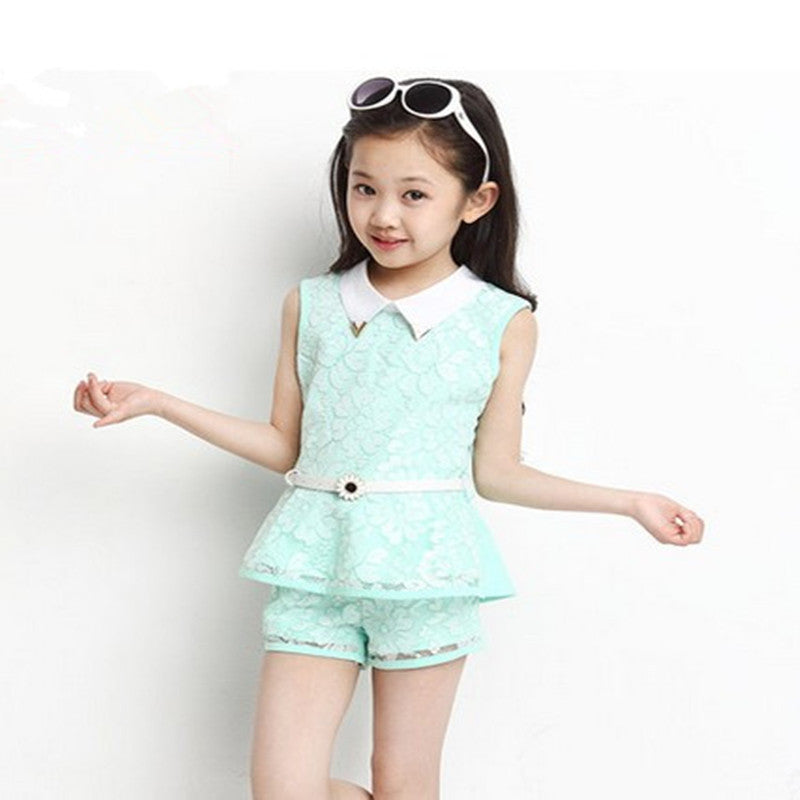 Fashion 2016 New Kids Clothes Girls 2pcs Sets Lace Summer Chiffon Knit Suit Children Turn-down Collar Floral Two-piece Sets