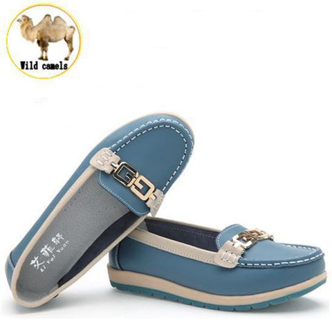 women Metal buckle genuine leather flats shoes woman causal nurse shoes women's round toe flexible candy color walking loafer