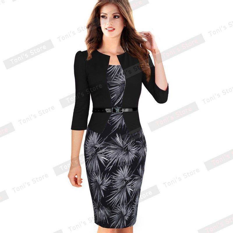 Nice-forever One-piece Faux Jacket Brief Elegant Patterns Work dress Office Bodycon Female 3/4 - Shopy Max