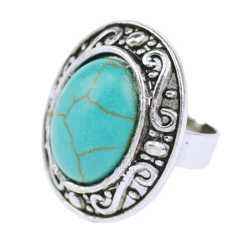 2015 Elegant Vintage Tibetan Silver Color Jewelry Carved Oval Turquoise Ring for Women Summer Style Wholesale
