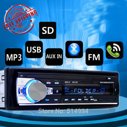 New arrival!car radio player Support BLUETOOTH answer hang up the phone USB SD AUX IN 12V 1 din audio stereo mp3 free shipping